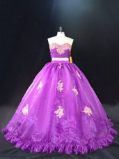 Purple Zipper Vestidos de Quinceanera Appliques Sleeveless Brush Train