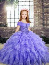 Lavender Straps Neckline Beading and Ruffles Kids Pageant Dress Sleeveless Lace Up