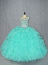 Spectacular Sleeveless Organza Floor Length Lace Up Sweet 16 Dress in Aqua Blue with Beading