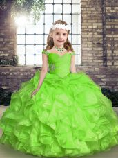 Beading and Ruffles and Ruching Kids Formal Wear Lace Up Sleeveless Floor Length