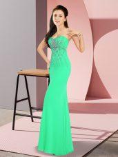 Customized Turquoise Zipper Sweetheart Beading Homecoming Dress Chiffon Sleeveless