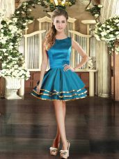 Sleeveless Mini Length Ruffled Layers Lace Up with Teal