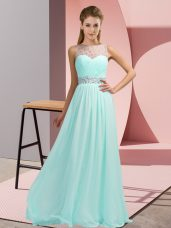 Light Blue Sleeveless Chiffon Backless Dress Like A Star for Prom and Party