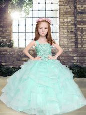 Apple Green Ball Gowns Beading and Ruffles Pageant Dress Lace Up Tulle Sleeveless Floor Length