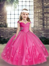Straps Sleeveless Tulle Kids Pageant Dress Beading and Hand Made Flower Lace Up