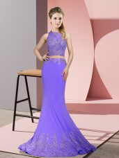 Exceptional Sleeveless Satin Sweep Train Zipper Oscars Dresses in Lavender with Beading and Appliques