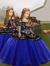 Spaghetti Straps Sleeveless Girls Pageant Dresses Floor Length Embroidery and Ruffles Royal Blue Organza