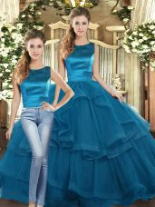 Colorful Floor Length Lace Up Sweet 16 Quinceanera Dress Teal for Military Ball and Sweet 16 and Quinceanera with Ruffles