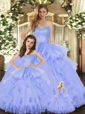Dramatic Appliques and Ruffles Ball Gown Prom Dress Lavender Lace Up Sleeveless Floor Length