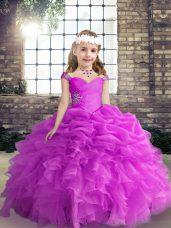 Fuchsia Straps Lace Up Beading and Ruffles and Pick Ups Child Pageant Dress Sleeveless