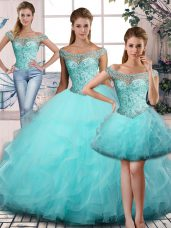 Off The Shoulder Sleeveless Tulle Quinceanera Dresses Beading and Ruffles Lace Up