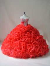Ideal Red Ball Gowns Fabric With Rolling Flowers Sweetheart Sleeveless Beading and Ruffles Lace Up Quinceanera Dress Court Train