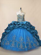High Quality Blue Sweet 16 Quinceanera Dress Taffeta Brush Train Sleeveless Beading and Pick Ups