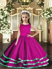 Fuchsia Tulle Lace Up Child Pageant Dress Sleeveless Floor Length Ruffled Layers