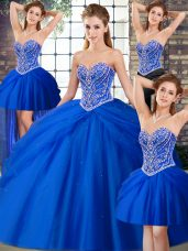 Edgy Sweetheart Sleeveless 15 Quinceanera Dress Brush Train Beading and Pick Ups Royal Blue Tulle
