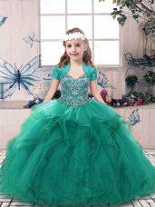 Ball Gowns Little Girls Pageant Dress Turquoise Straps Tulle Sleeveless Floor Length Side Zipper