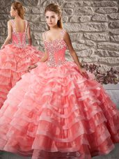 Sexy Watermelon Red Ball Gown Prom Dress Straps Sleeveless Court Train Lace Up