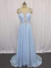 Blue Scoop Neckline Beading and Ruching Sleeveless Zipper