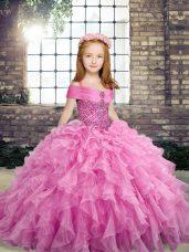 Straps Sleeveless Kids Formal Wear Floor Length Beading and Ruffles Lilac Organza