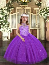 Cute Floor Length Lace Up Child Pageant Dress Purple for Party and Sweet 16 and Wedding Party with Beading