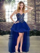 Royal Blue Sweetheart Lace Up Beading Pageant Dress Womens Sleeveless