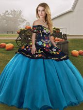 Best Selling Floor Length Ball Gowns Sleeveless Blue And Black Sweet 16 Dresses Lace Up