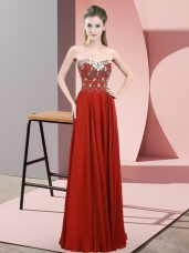 Floor Length Empire Sleeveless Rust Red Homecoming Dress Zipper