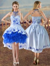 Super Blue And White Satin and Organza Lace Up Halter Top Sleeveless Evening Dress Embroidery and Ruffles