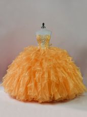 Orange Sweetheart Neckline Beading and Ruffles 15 Quinceanera Dress Sleeveless Lace Up