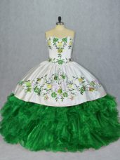 Chic Floor Length Lace Up Quinceanera Dresses Green for Sweet 16 and Quinceanera with Embroidery and Ruffles