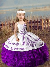 Custom Designed Purple Organza Lace Up Straps Sleeveless Floor Length Party Dresses Embroidery and Ruffles