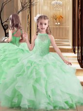 Custom Fit Scoop Sleeveless Tulle Pageant Gowns For Girls Beading and Ruffles Lace Up