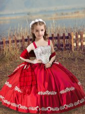 Discount Straps Sleeveless Lace Up Little Girls Pageant Gowns Coral Red Satin
