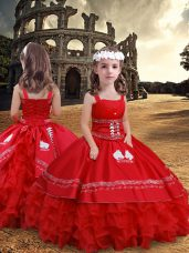 Sleeveless Floor Length Embroidery and Ruffled Layers Zipper Pageant Gowns For Girls with Red