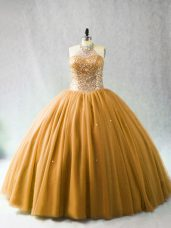 Sumptuous Gold Sleeveless Beading Lace Up Sweet 16 Dresses