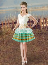 Delicate White Ball Gowns Taffeta V-neck Sleeveless Beading Knee Length Lace Up Casual Dresses