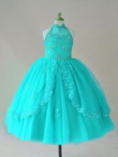 Aqua Blue Lace Up Little Girl Pageant Gowns Beading and Appliques Sleeveless Floor Length