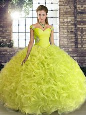 Yellow Green Ball Gowns Fabric With Rolling Flowers Off The Shoulder Sleeveless Beading Floor Length Lace Up Ball Gown Prom Dress