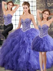 Stunning Floor Length Three Pieces Sleeveless Lavender Quinceanera Dress Lace Up