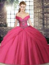 Hot Pink Tulle Lace Up Quince Ball Gowns Sleeveless Brush Train Beading and Pick Ups