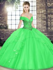 Green Lace Up Off The Shoulder Beading and Ruffles Quinceanera Dresses Tulle Sleeveless