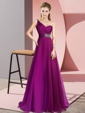 Popular Criss Cross Evening Dress Fuchsia for Prom and Party with Beading Brush Train