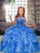 Excellent Blue Ball Gowns High-neck Sleeveless Organza Floor Length Lace Up Beading and Ruffles Little Girls Pageant Dress Wholesale