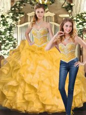 Ball Gowns 15 Quinceanera Dress Gold Sweetheart Organza Sleeveless Floor Length Lace Up
