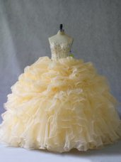 Suitable Sleeveless Organza Floor Length Lace Up 15 Quinceanera Dress in Gold with Beading and Ruffles and Pick Ups