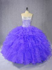 Purple Ball Gowns Sweetheart Sleeveless Organza Floor Length Lace Up Ruffles Sweet 16 Quinceanera Dress