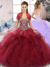 Burgundy Ball Gowns Tulle Off The Shoulder Sleeveless Beading and Ruffles Floor Length Lace Up Sweet 16 Quinceanera Dress
