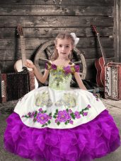 On Sale Floor Length Lace Up Child Pageant Dress Purple for Wedding Party with Beading and Embroidery and Ruffles