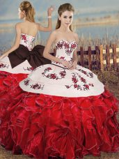 High Class White And Red Sleeveless Organza Lace Up Sweet 16 Dresses for Military Ball and Sweet 16 and Quinceanera