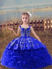 Royal Blue Lace Up Straps Embroidery Pageant Dress for Girls Fabric With Rolling Flowers Sleeveless Sweep Train